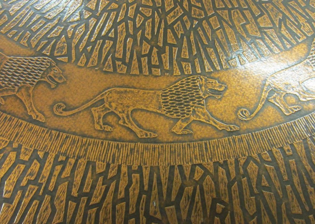 COPPER TOP, CIRCULAR LION MOTIF TABLE - 2