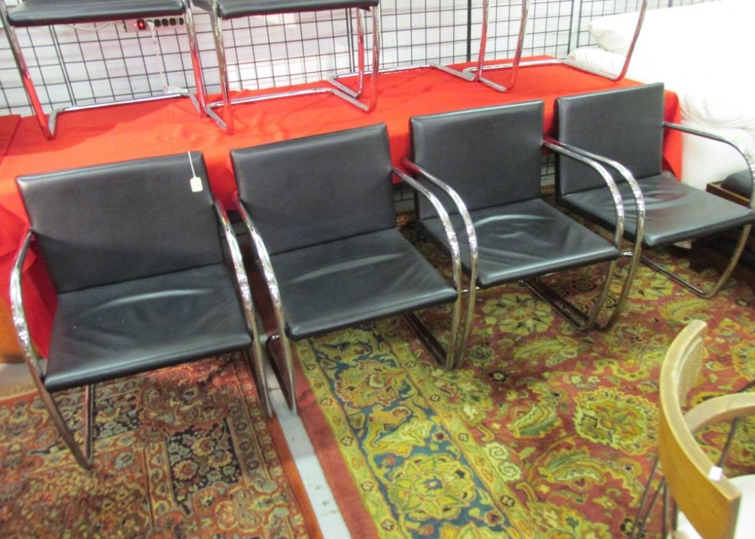 ALIVAR, ITALY, BRNO CHAIRS, LEATHER & CHROME, LOT OF 4