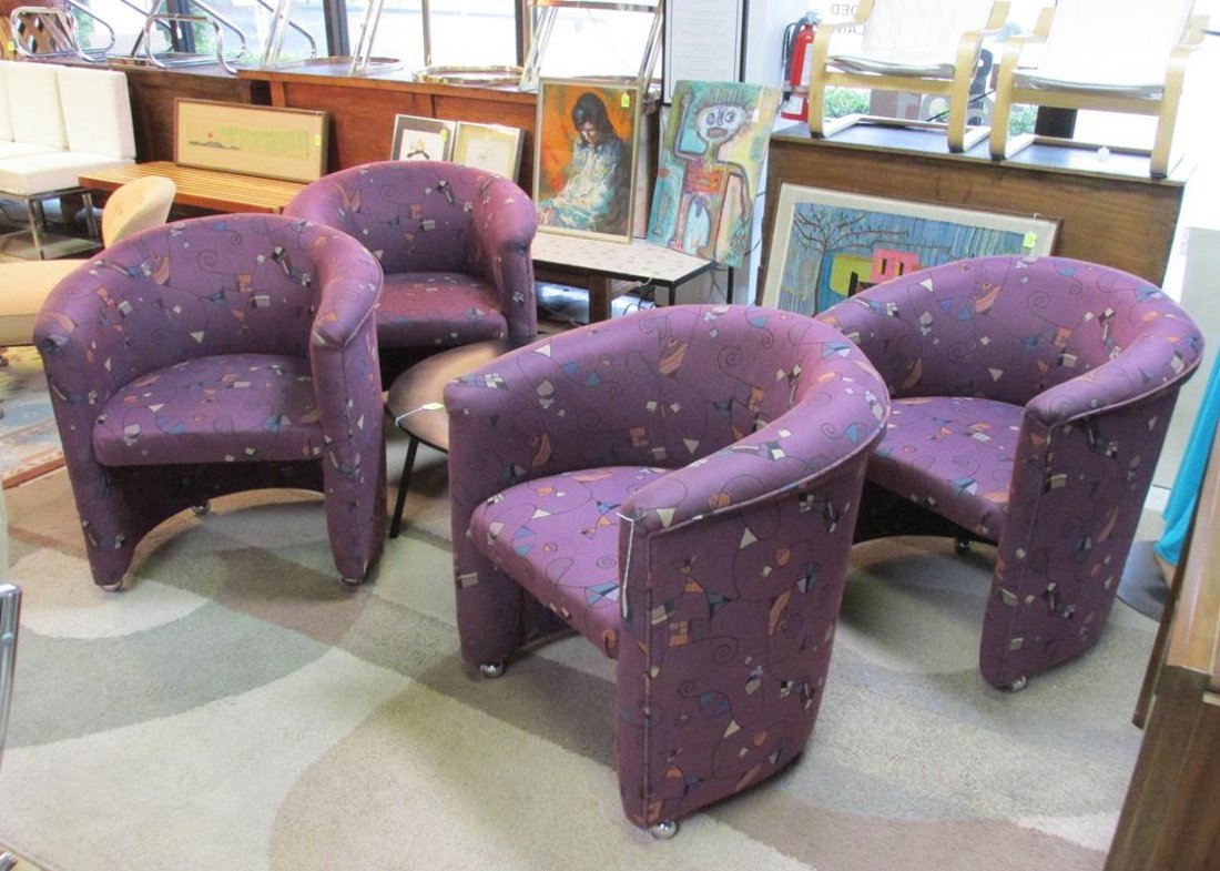 SET OF 4 CASTERED PURPLE LOUNGE CHAIRS