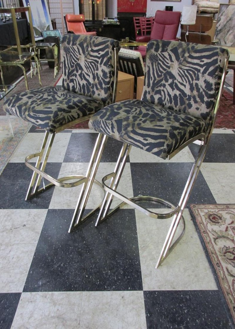 PAIR OF BRASS Z-FORM STOOLS