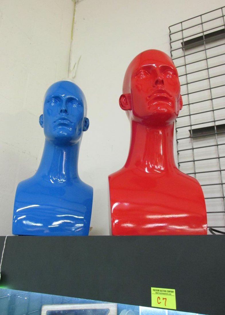 PAIR OF BLUE AND RED RESIN MODEL BUSTS