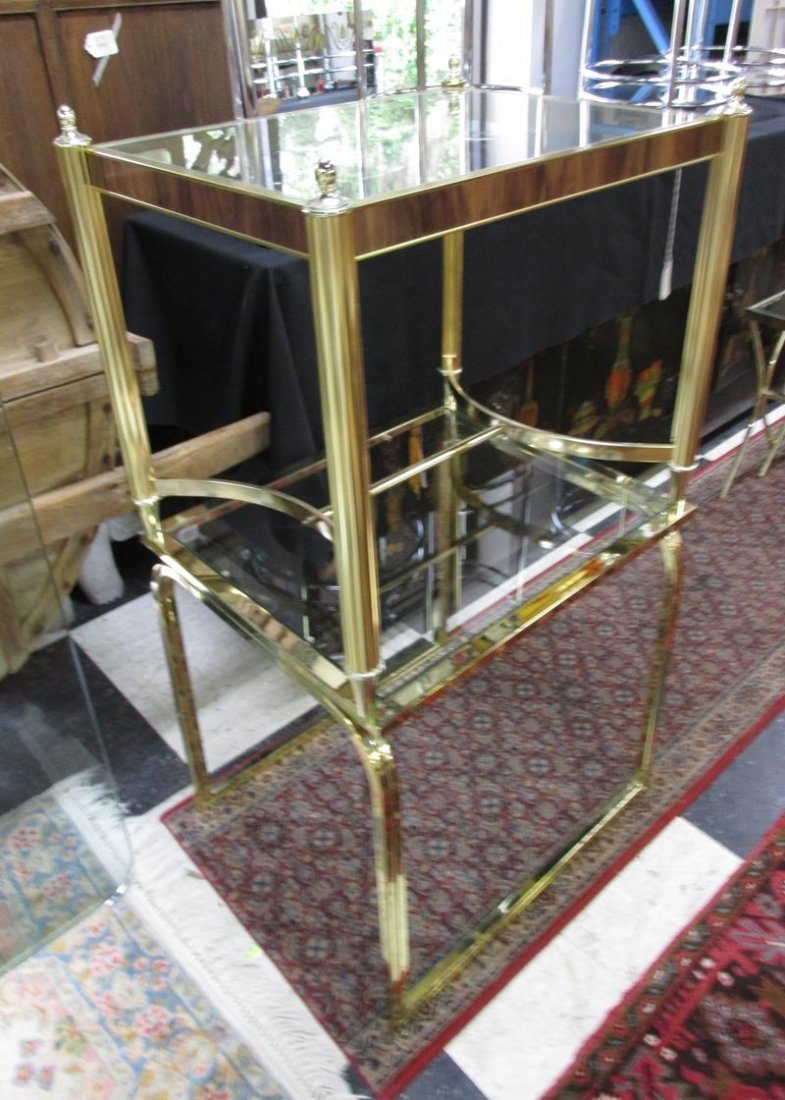 PAIR OF GOLD CHROME GLASS TOP END TABLES