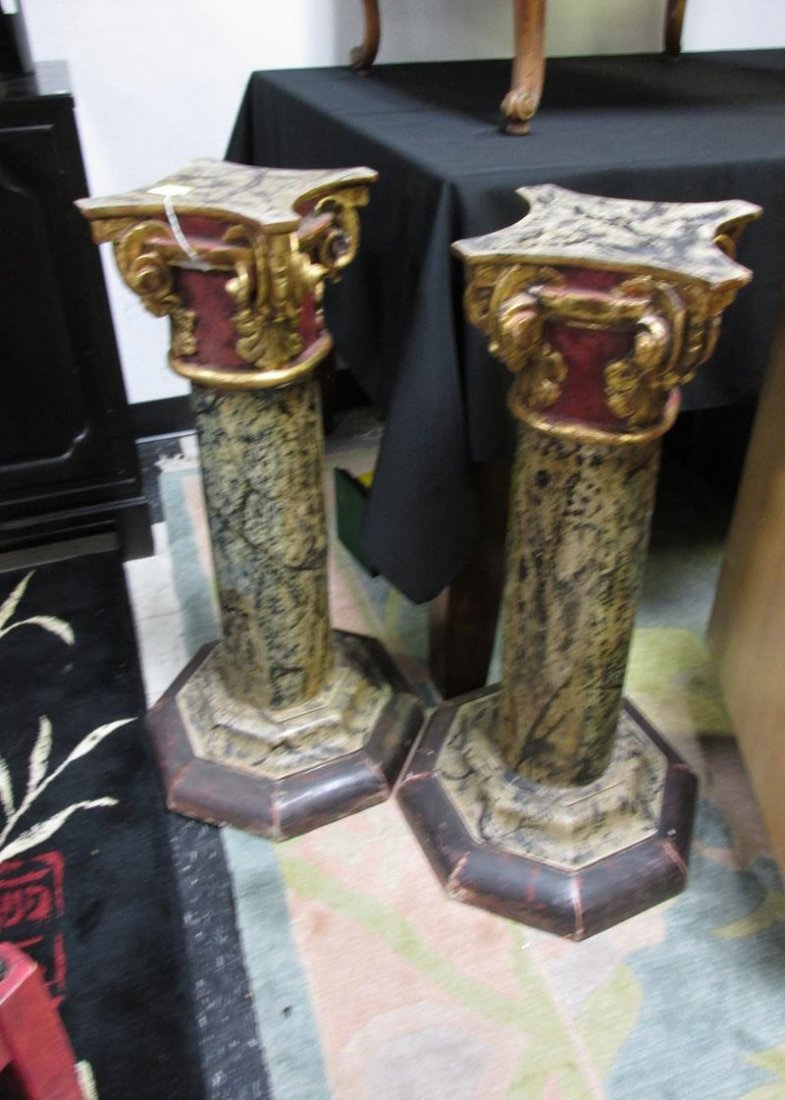PAIR OF PAINT DECORATED PEDESTALS, 30""