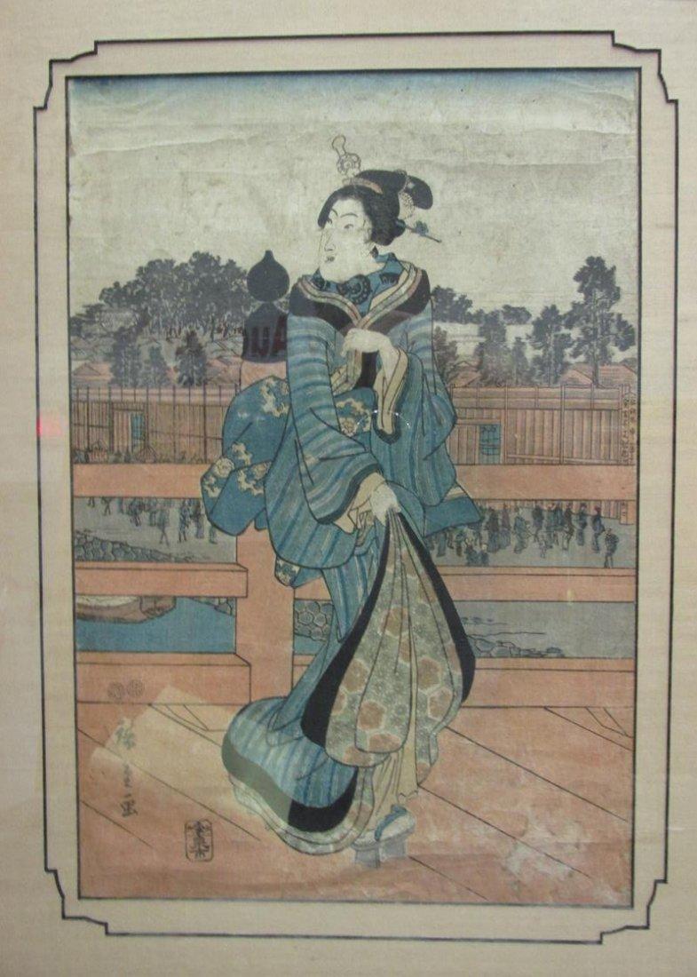 UKIYO-E STYLE BLOCK PRINT, LADY IN BLUE