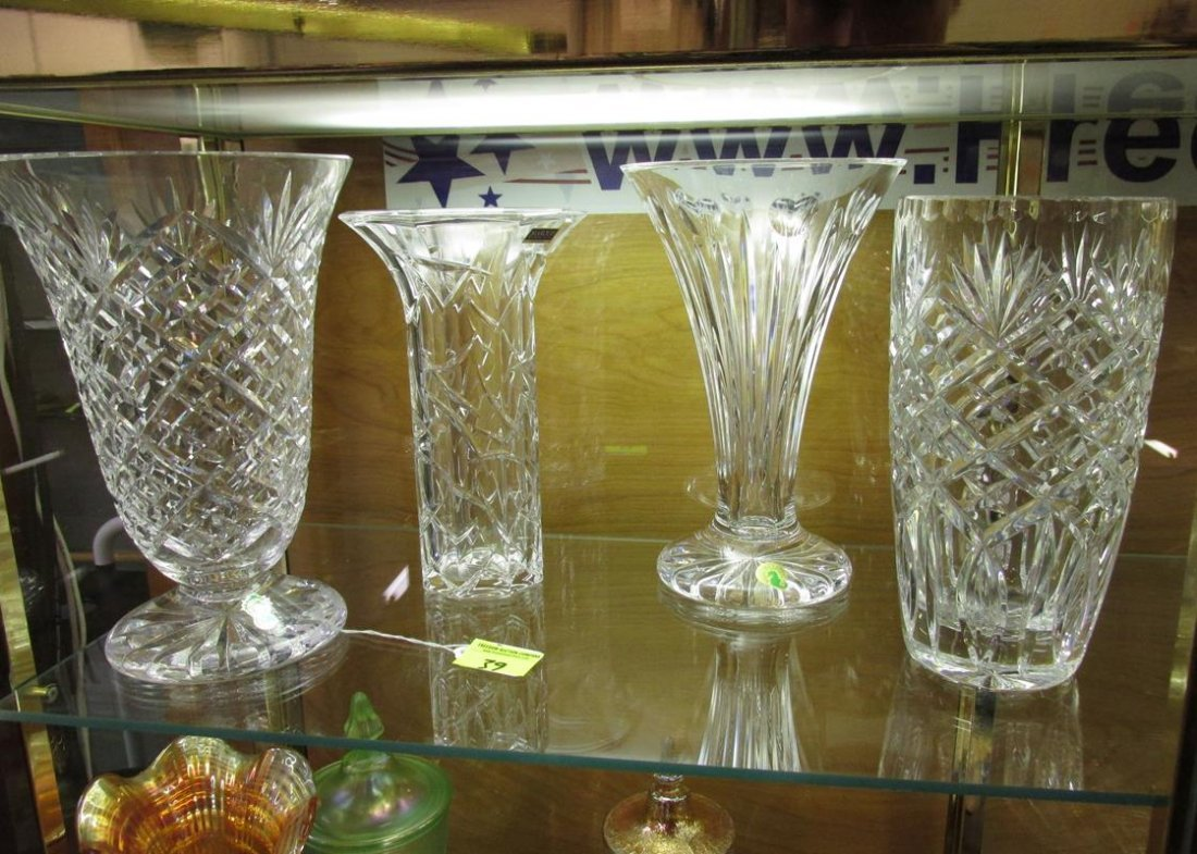 4 PC. WATERFORD CRYSTAL VASES