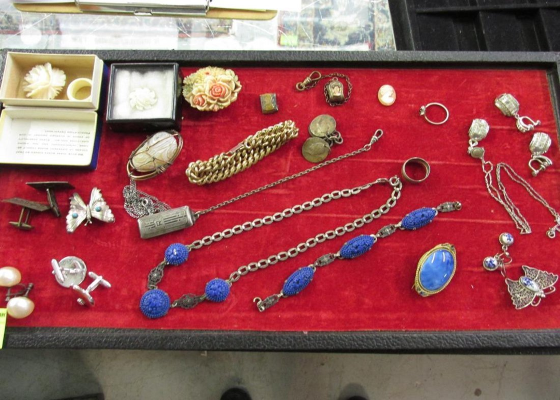 JEWELRY GROUPING INCL. STERLING, AGATE, CARVINGS