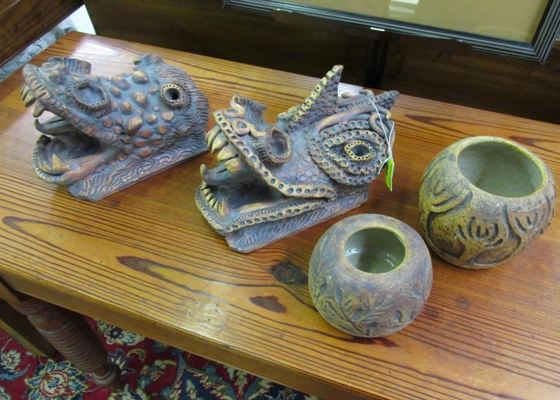 HAND-THROWN POTTERY VESSELS BY J.R. WANK, CLAY DRAGONS
