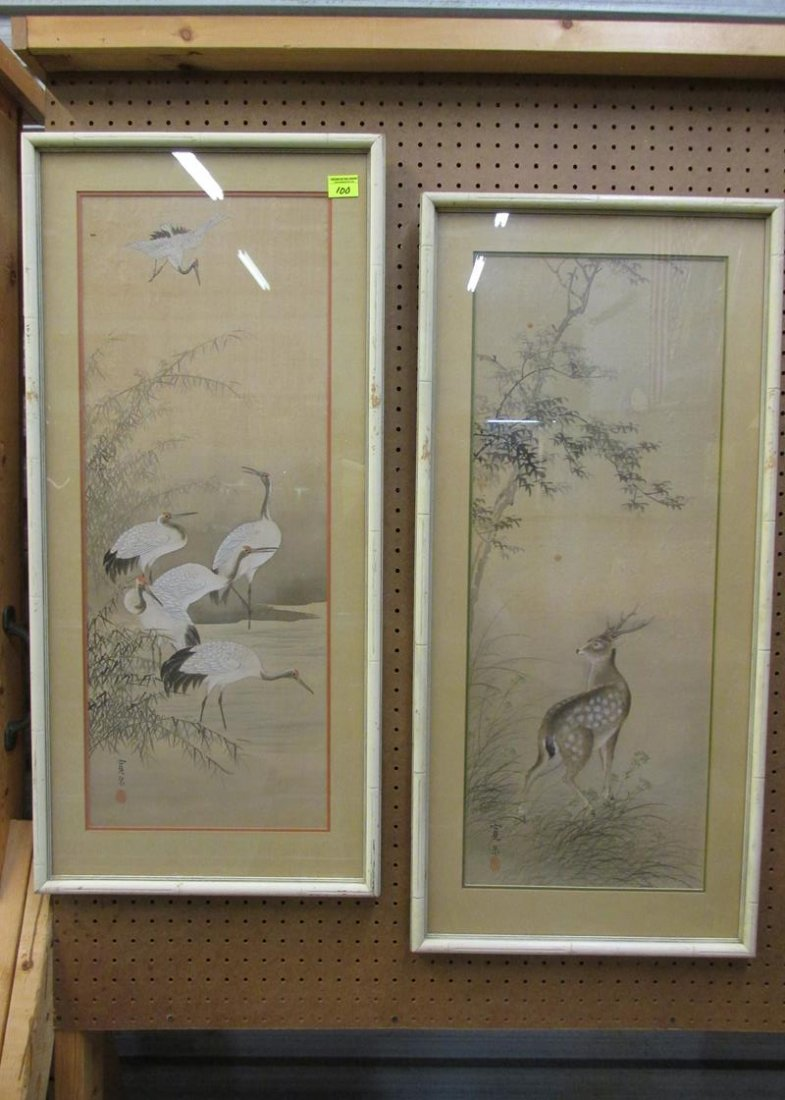 PAINTING PAIR ON SILK, STORKS AND DEER, ARTIST UNKNOWN