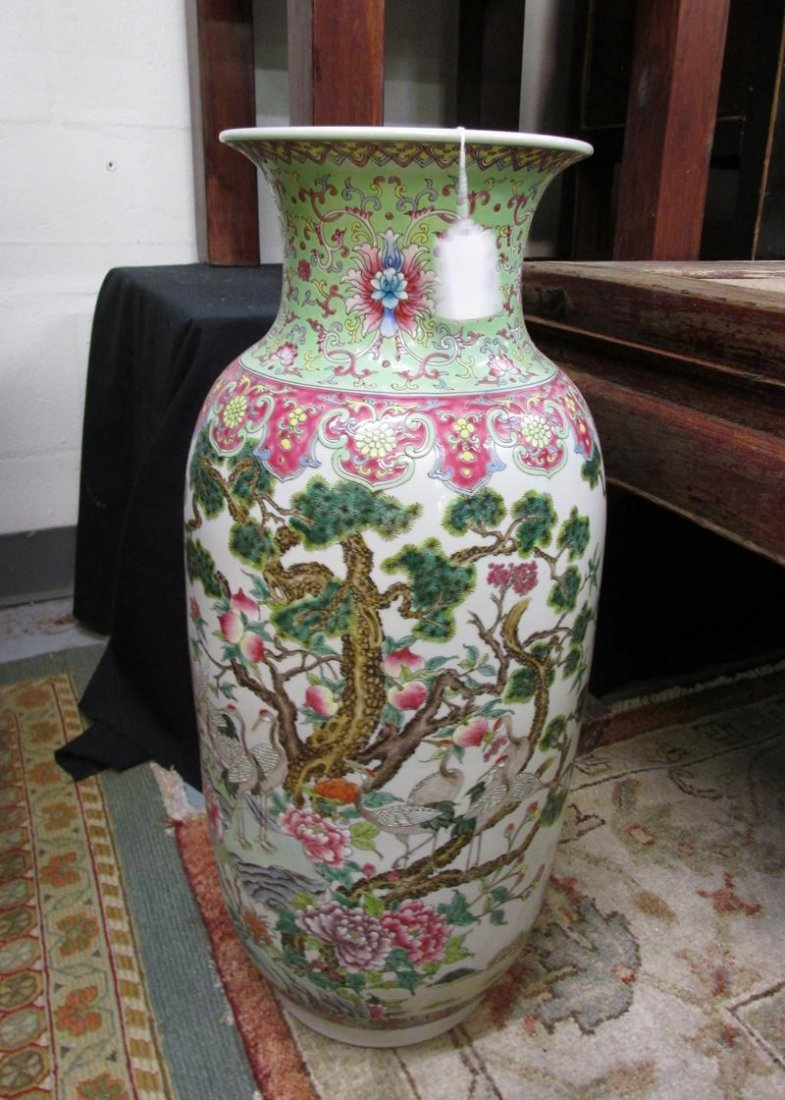 CHINESE CRANE FLOOR VASE, HAND PAINTED, 22.5""