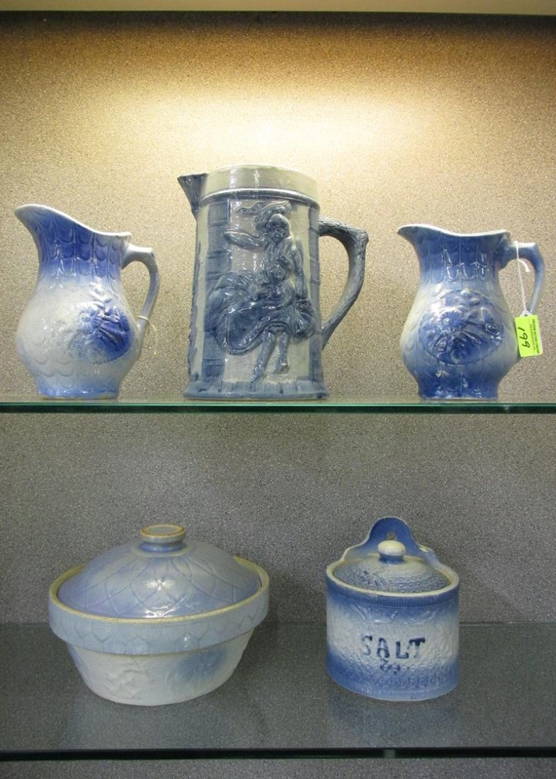 5 PC. SALT GLAZE POTTERY