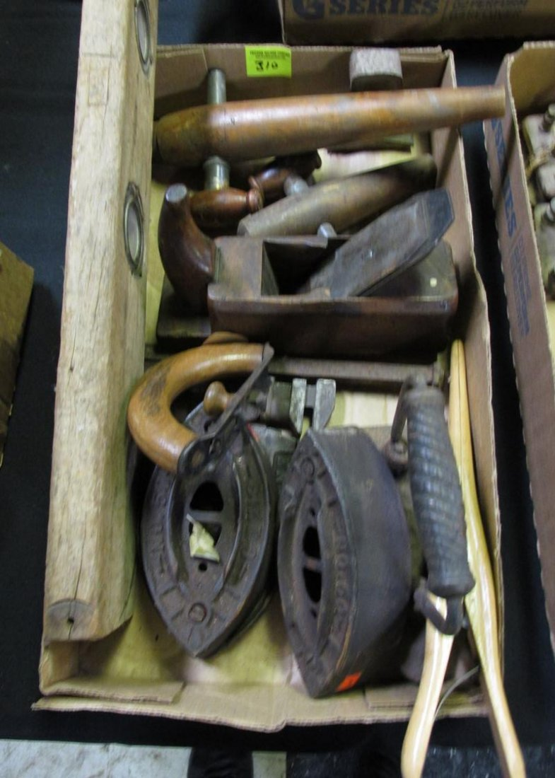 LOT OF ANTIQUE TOOLS, IRONS, PRIMITIVES
