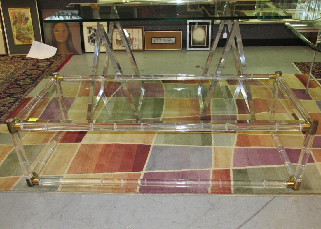 CHARLES HOLLIS JONES STYLE LUCITE COCKTAIL TABLE