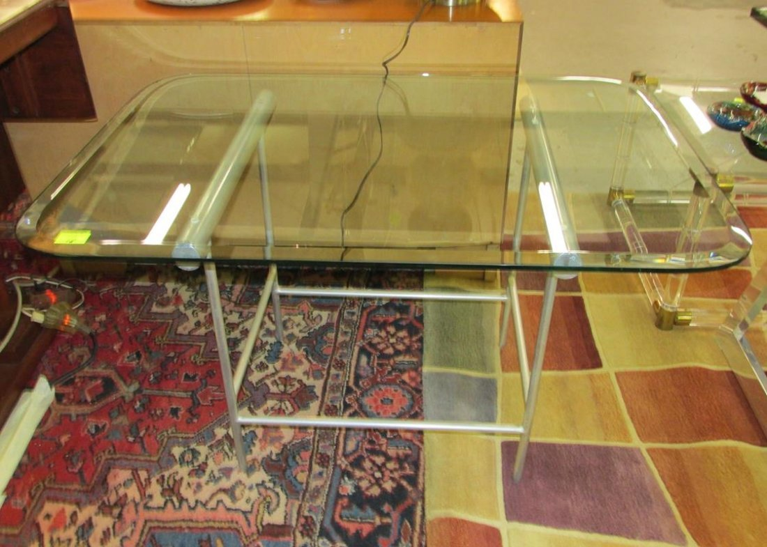 ALUMINUM BASE WITH BEVELED GLASS TOP SIDE TABLE