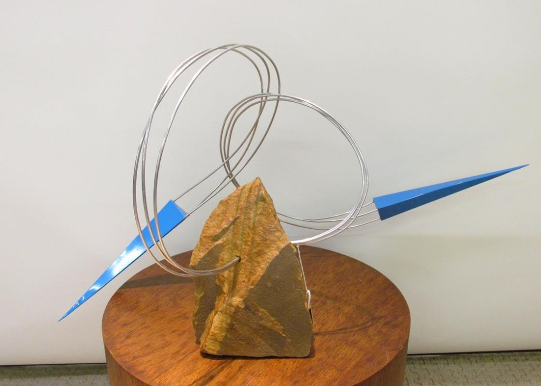"""LIBERTY"" TWISTED WIRE AND STONE SCULPTURE"