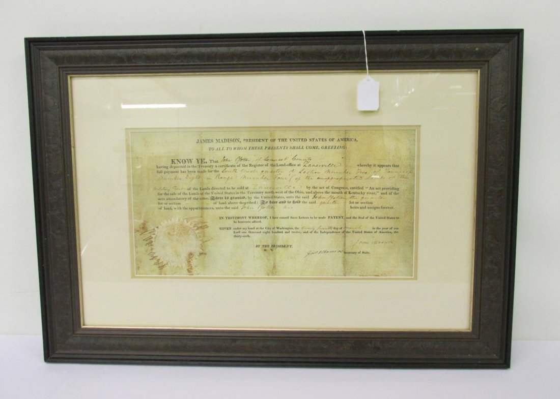 REPRODUCTION LAND GRANT, JAMES MADISON, 1812
