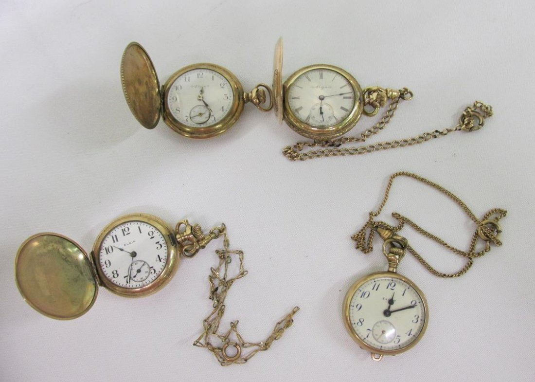 LOT OF 4 ELGIN POCKETWATCHES
