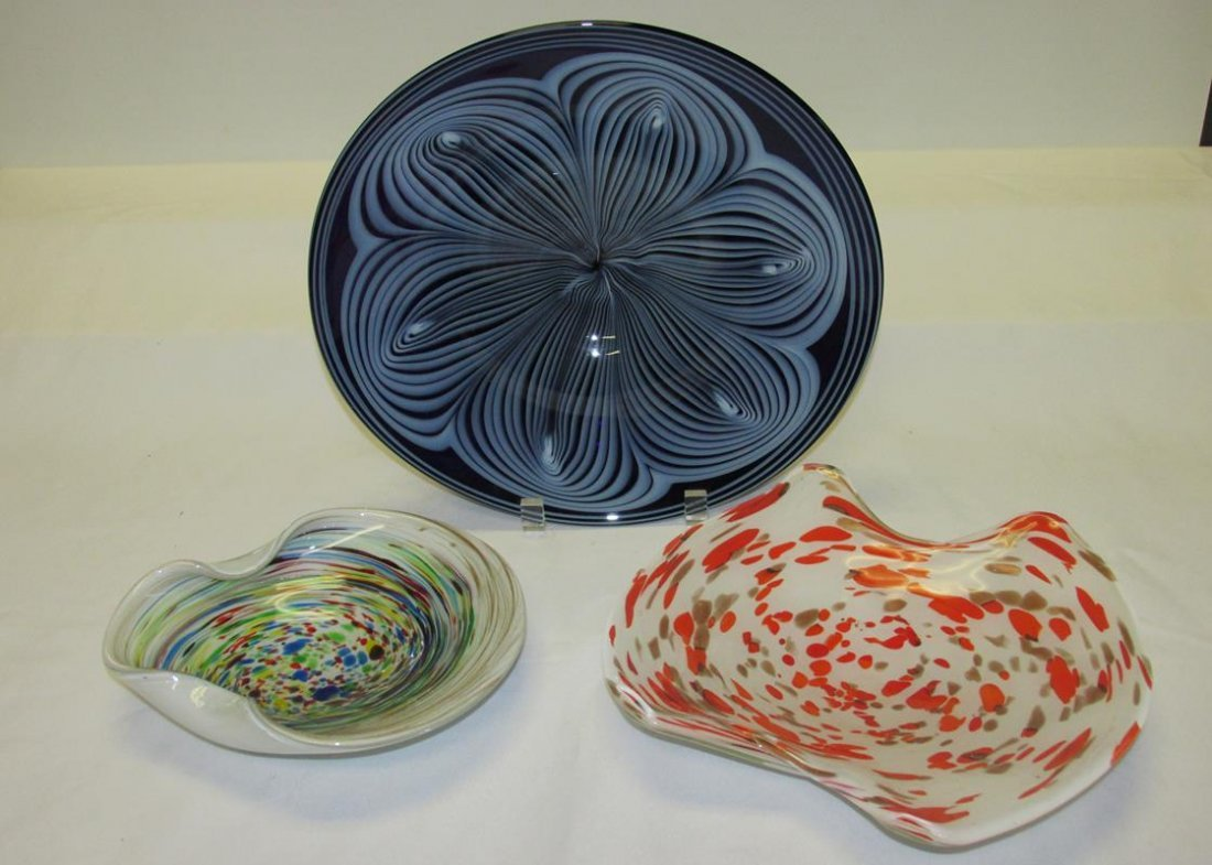 3 PC. VINTAGE MURANO ART GLASS BOWLS