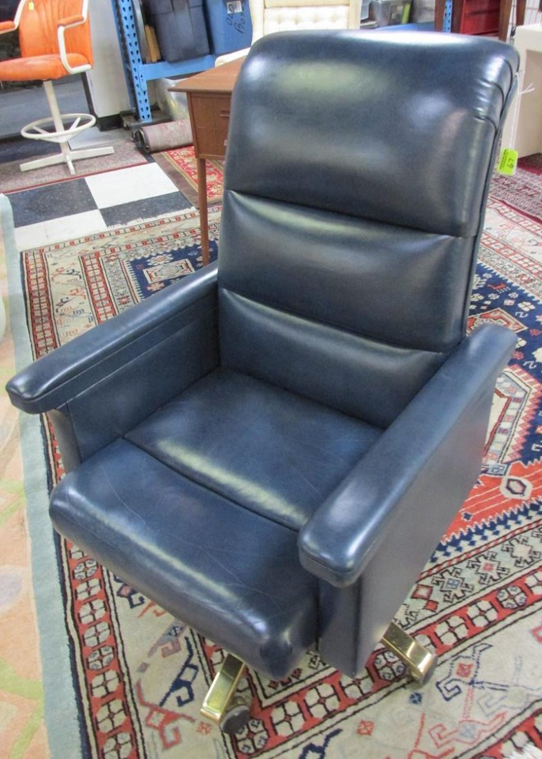 BAKER FURNITURE BLUE LEATHER OFFICE CHAIR