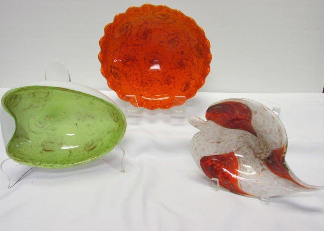 3 PC. VINTAGE MURANO ART GLASS BOWLS