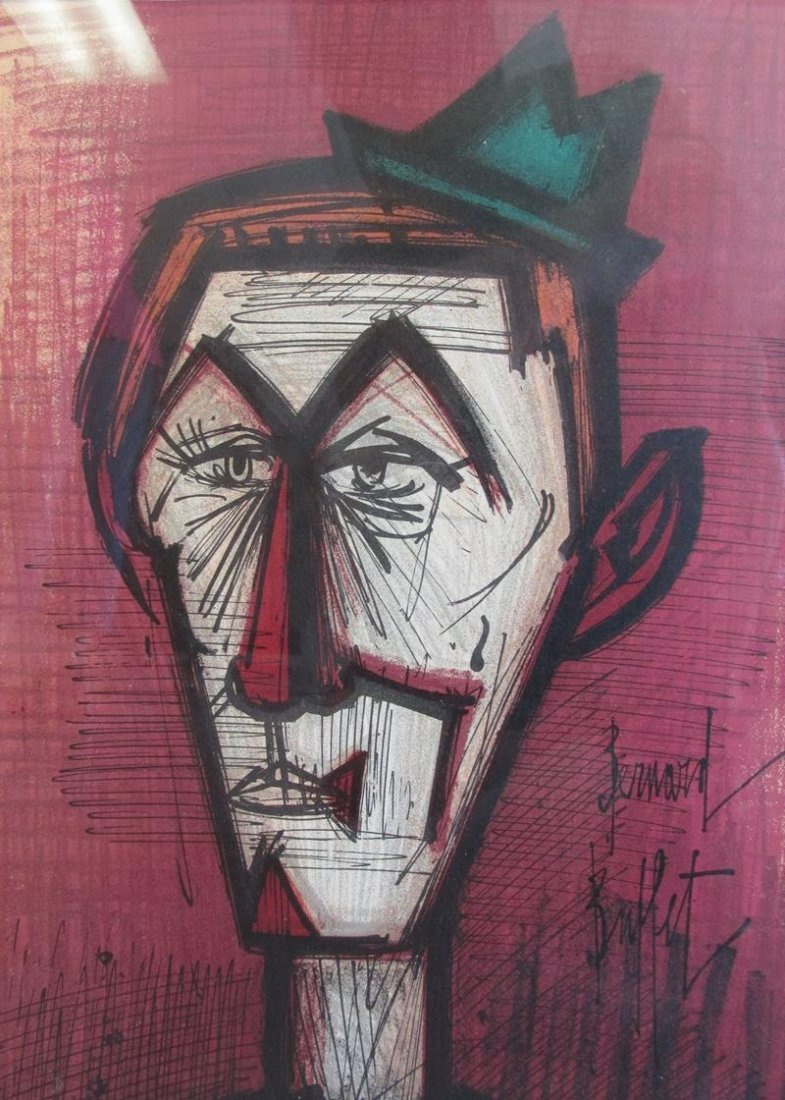 "BERNARD BUFFET ""LE CLOWN AU FON ROUGE"" LITHOGRAPH"