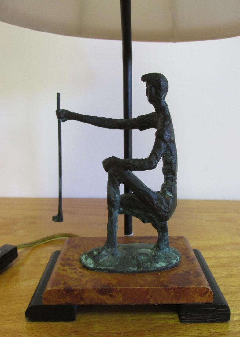FREDERICK COOPER LAMP WITH BRONZE GOLFER SCULPTURE