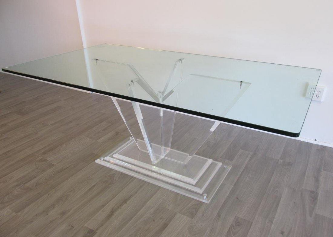LUCITE BASE DINING TABLE