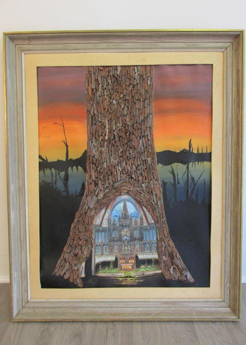 ABSTRACT TREE OF LIFE MIXED MEDIA ART