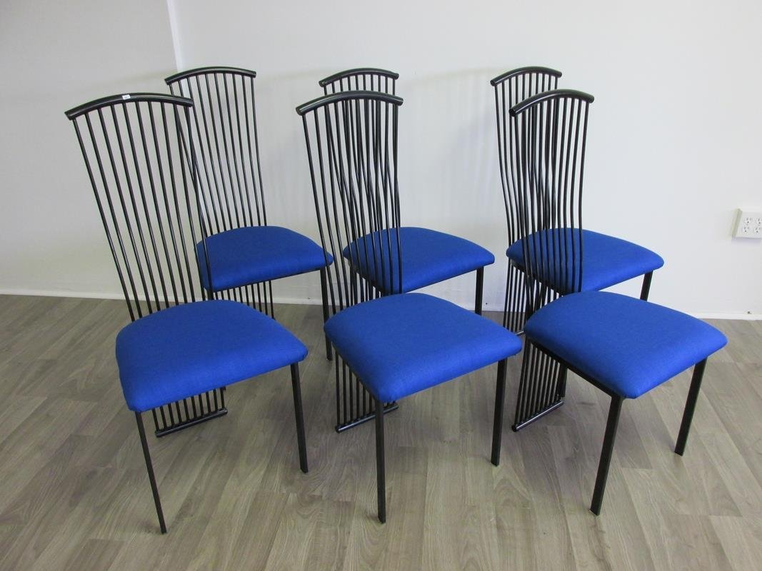 SET OF 6 MODERN IRON TUBE DINING CHAIRS
