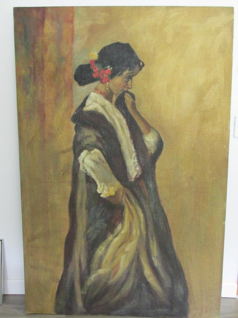 LARGE PORTRAIT OF WOMAN, BURLAP MOUNTED TO BOARD