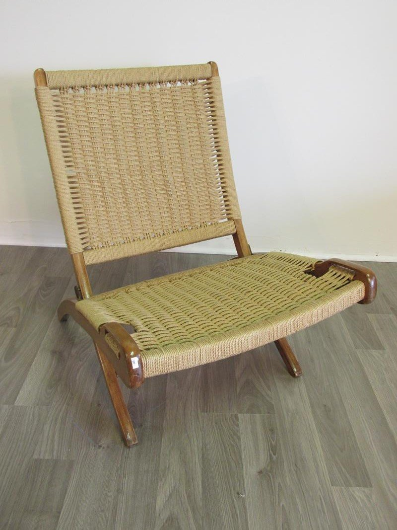 DANISH TEAK CORD FOLDING LOUNGE CHAIR