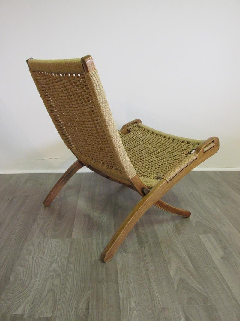 DANISH TEAK CORD FOLDING LOUNGE CHAIR - 2