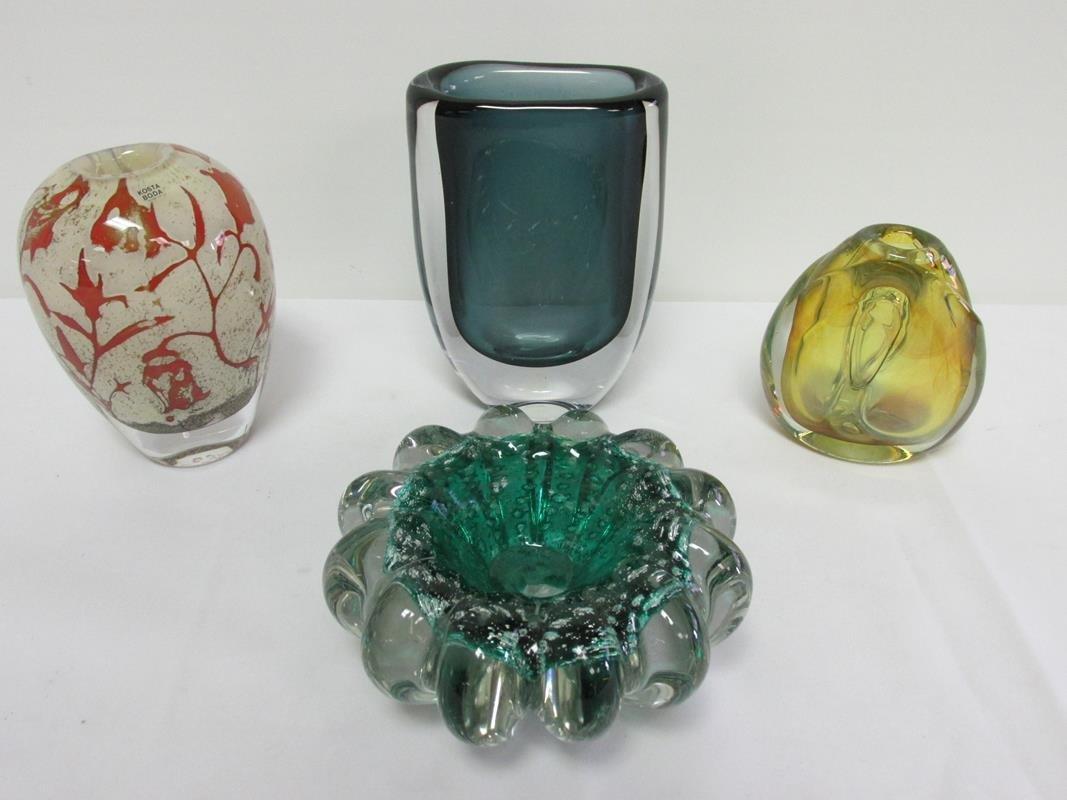 4 PC. ART GLASS ITEMS