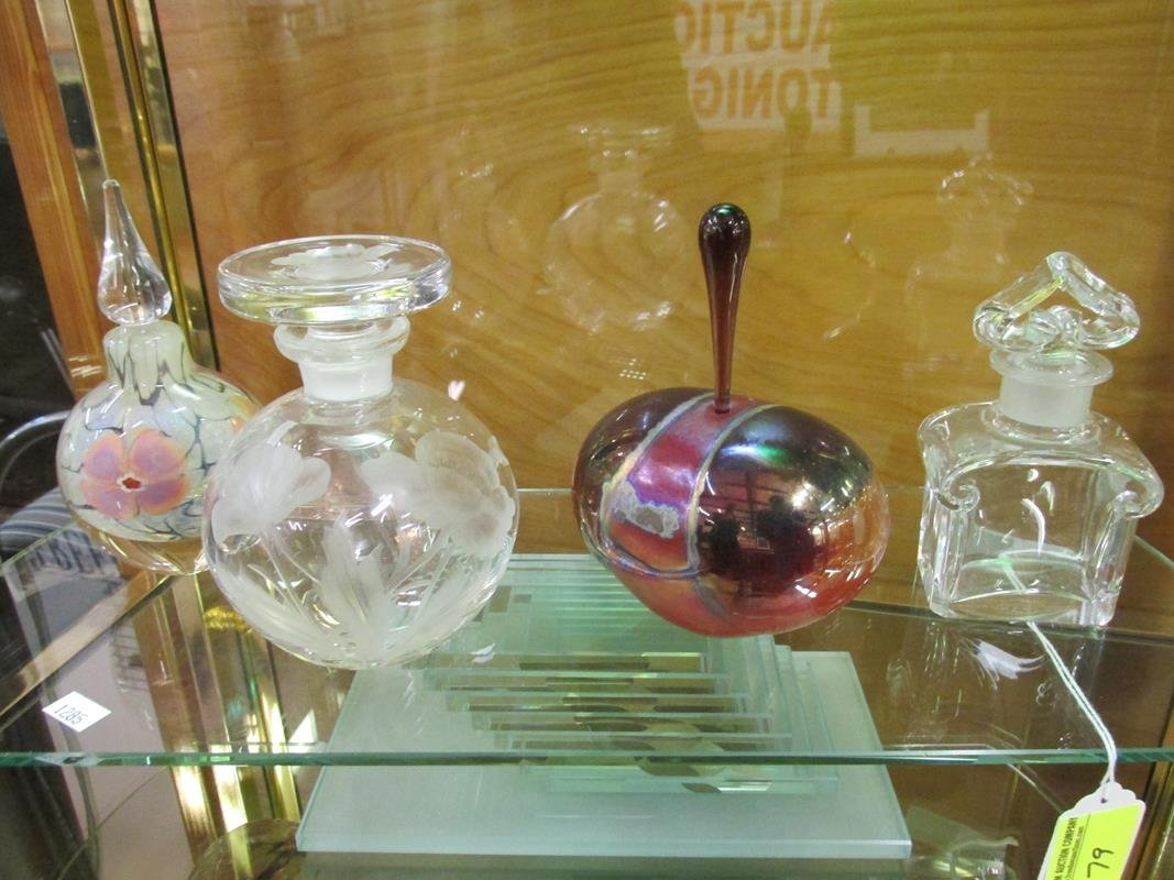 4 PC. ART GLASS PERFUMES/DECANTERS