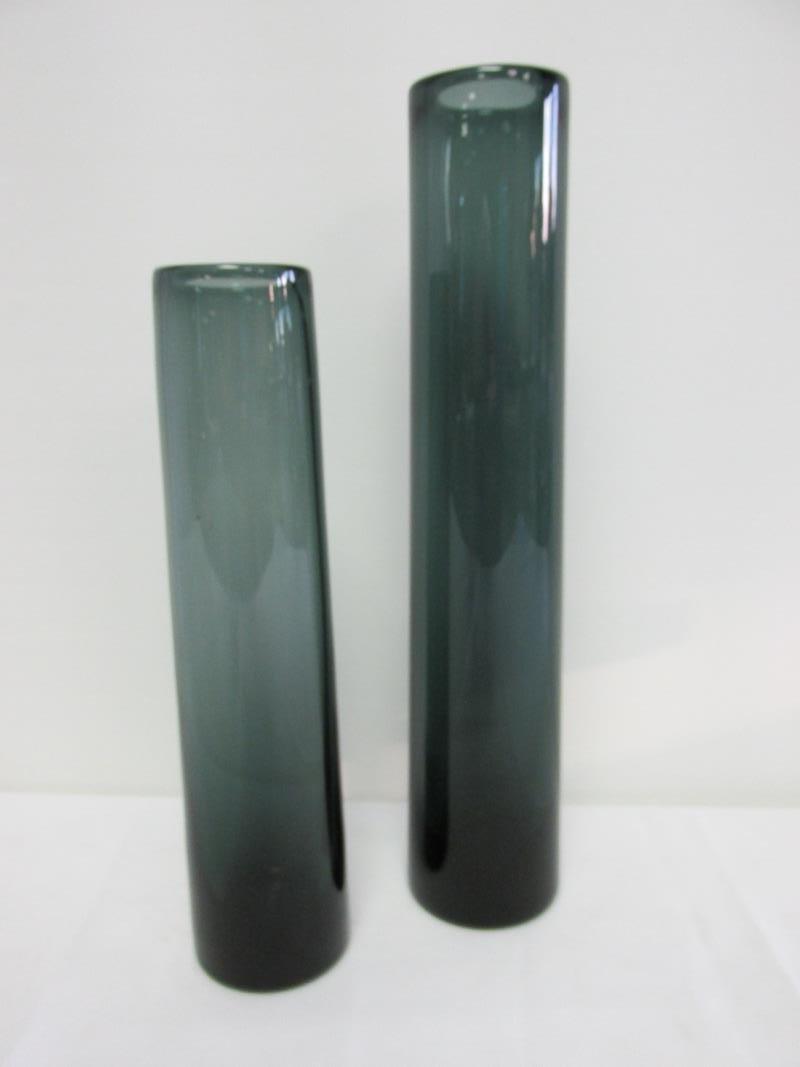 HOLMEGAARD - DENMERK, SIGNED SMOKED GLASS VASES