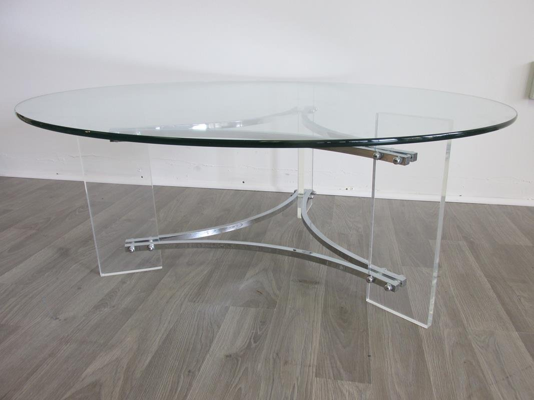 CHARLES HOLLIS JONES STYLE LUCITE/CHROME TABLE