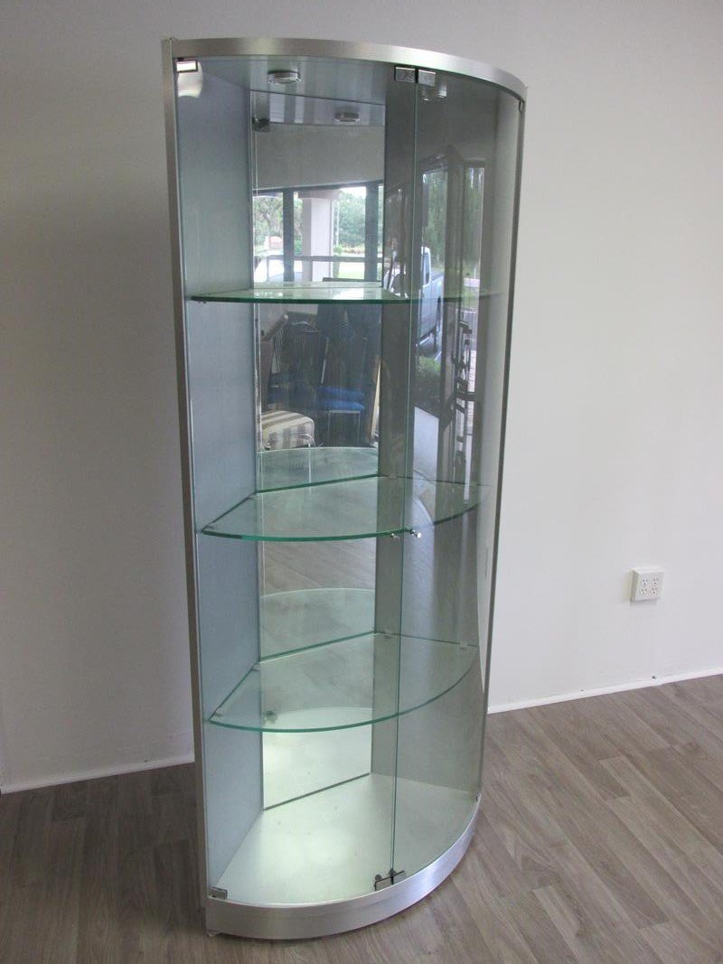 CHROME AND GLASS CORNER CURIO CABINET