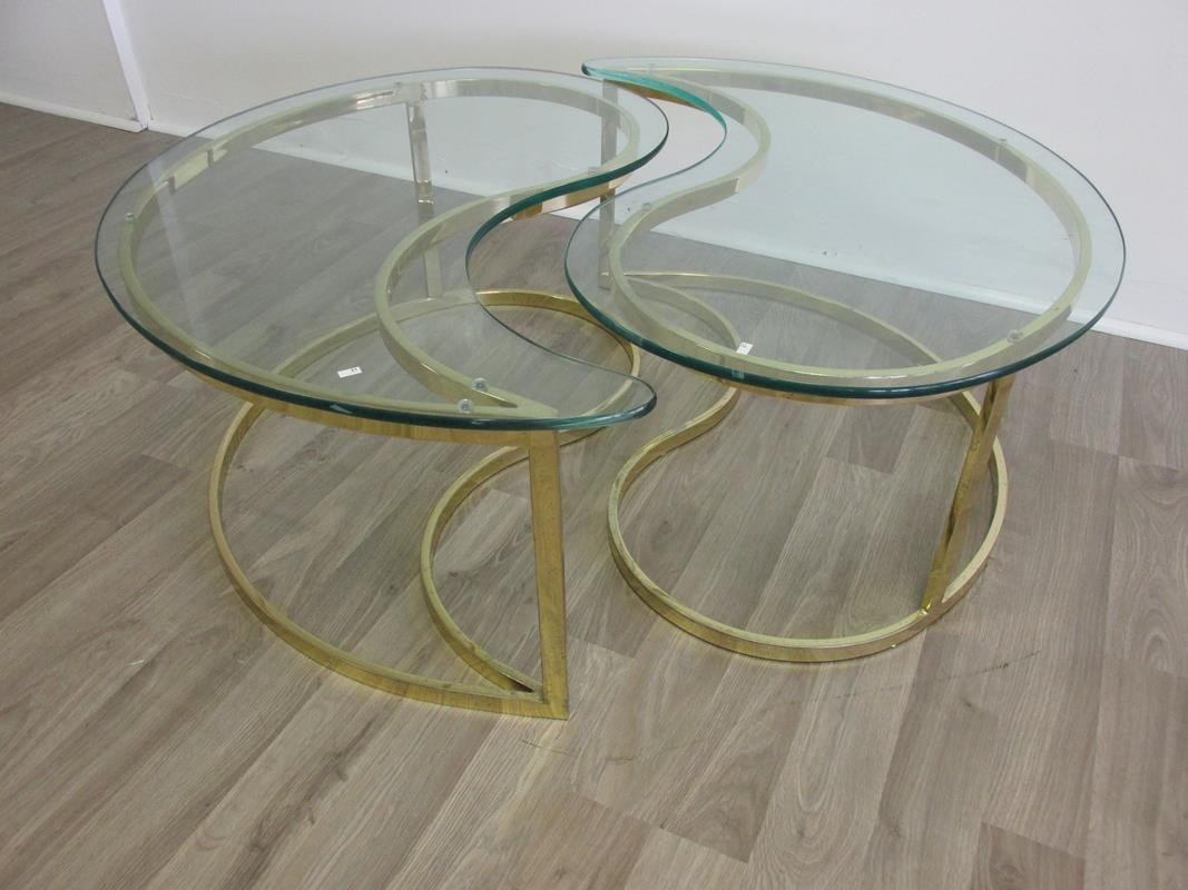 YING/YANG HOLLYWOOD REGENCY STYLE COFFEE TABLE SET
