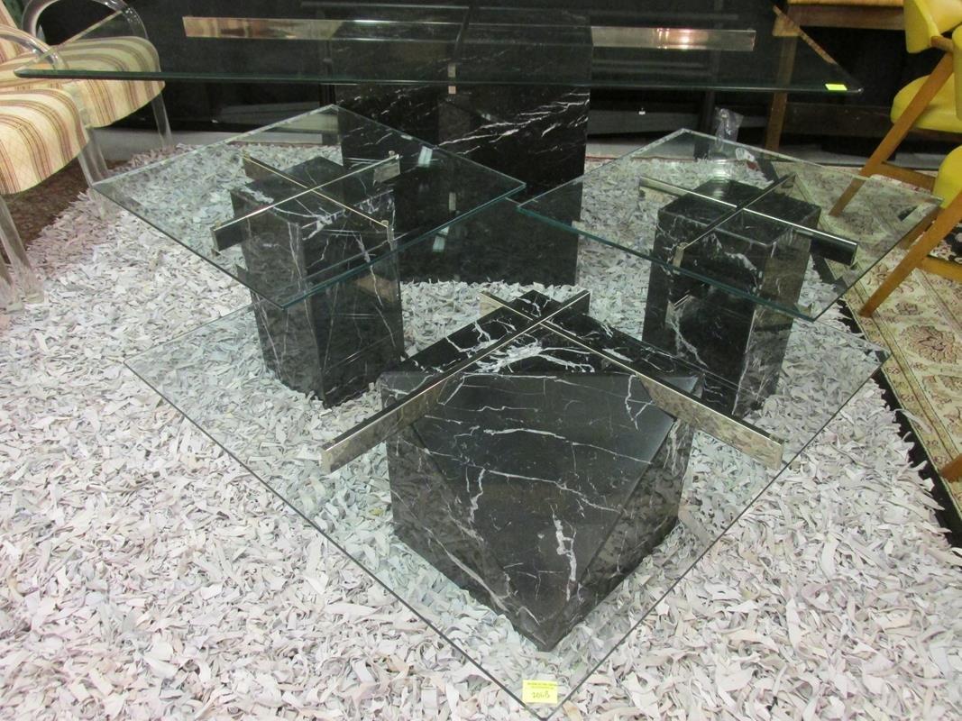 3 PC. ARTEDI TABLE SET, SIDE AND COFFEE