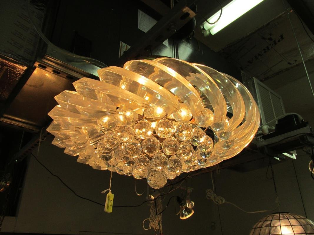 LUCITE WITH CRYSTAL BALL PENDANT CHANDELIER