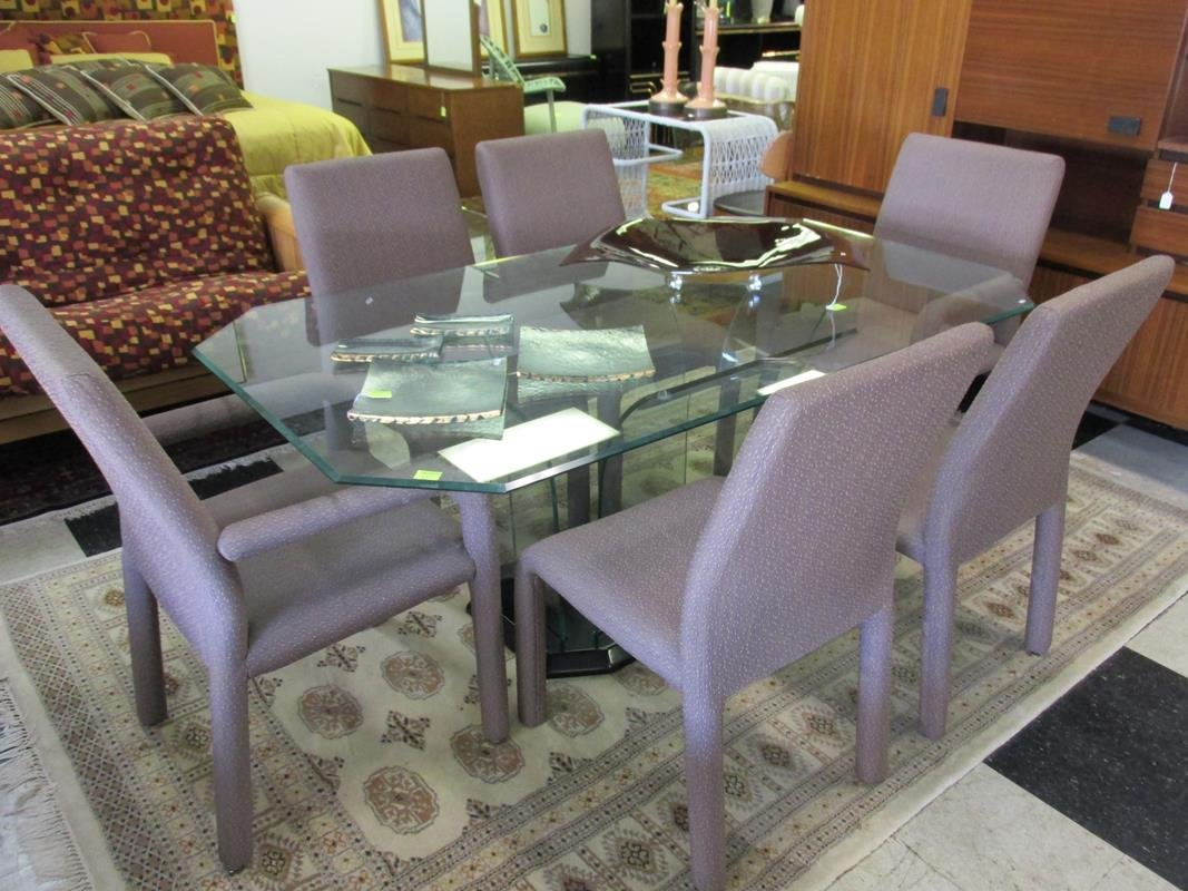 GLASS TOP/BASE DINING TABLE AND CHAIRS