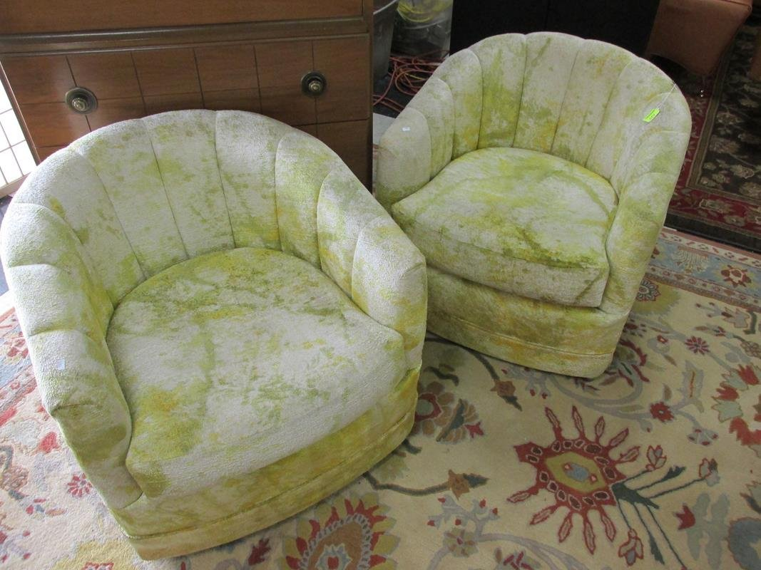 PAIR OF PSYCHEDELIC SWIVEL CHAIRS