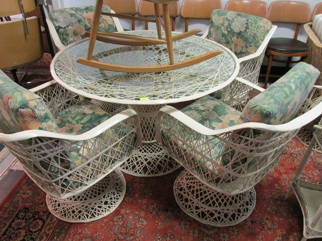 FIBERGLASS WOVEN PATIO TABLE AND 4 CHAIRS