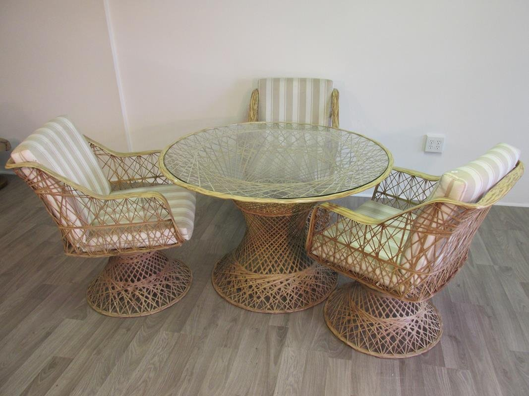 FIBERGLASS WOVEN PATIO TABLE AND 3 CHAIRS