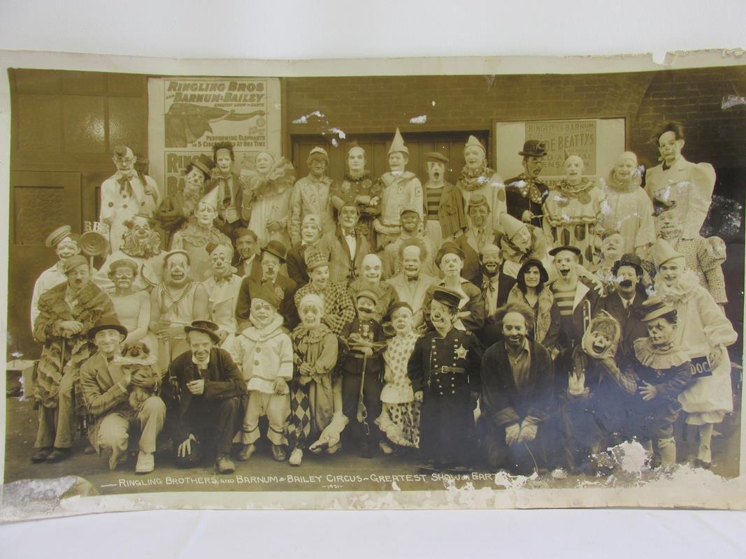 1931 RINGLING BROS. PANORAMIC CLOWN ACT PHOTOGRAPH