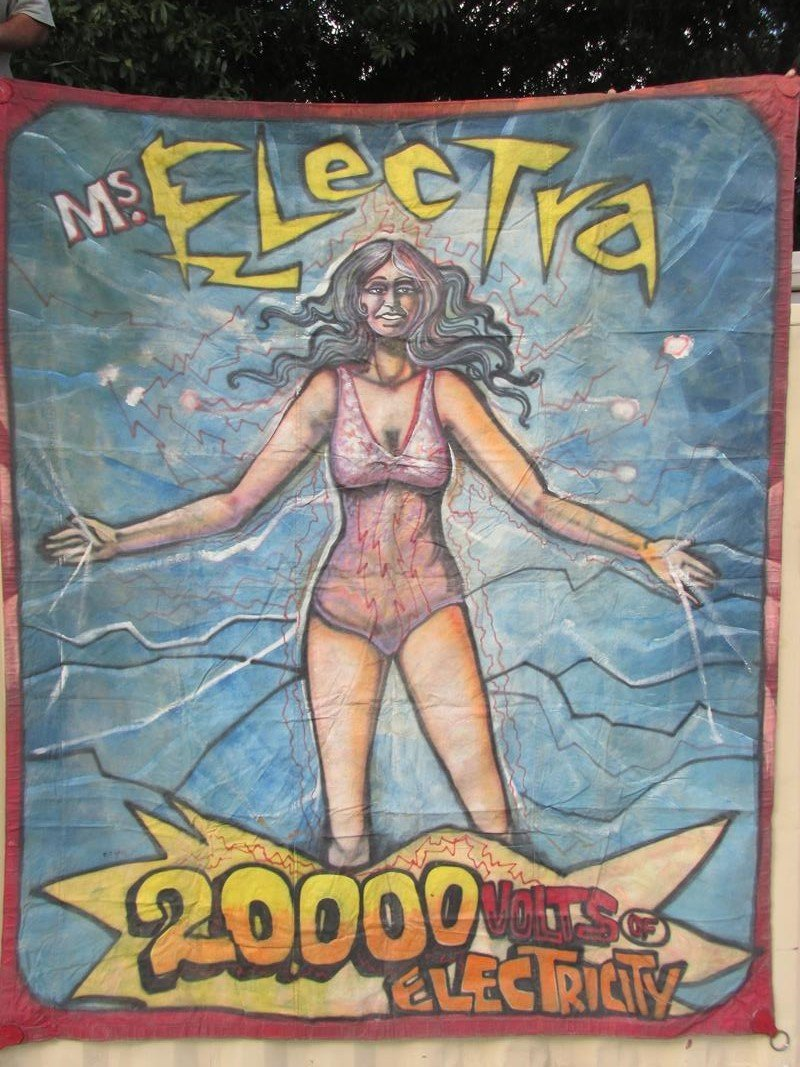 """MS. ELECTRA"" SIDE SHOW BANNER - R. J. WARD"