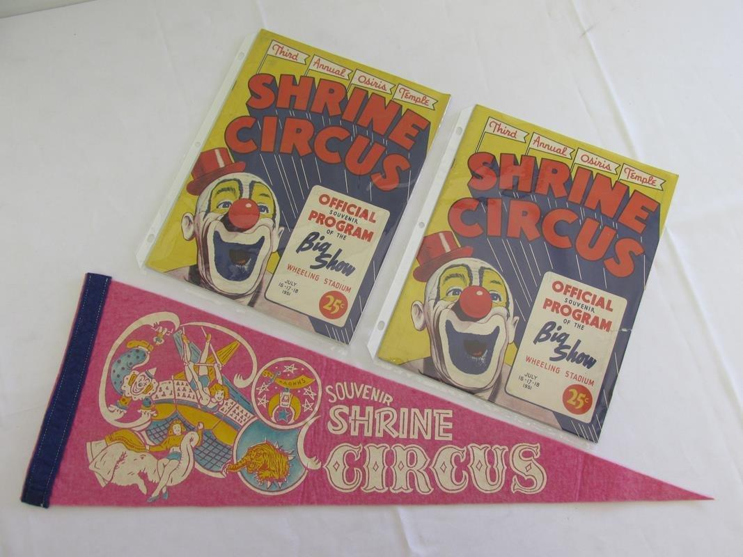 1951 SHRINE CIRCUS PROGRAMS & PENNANT