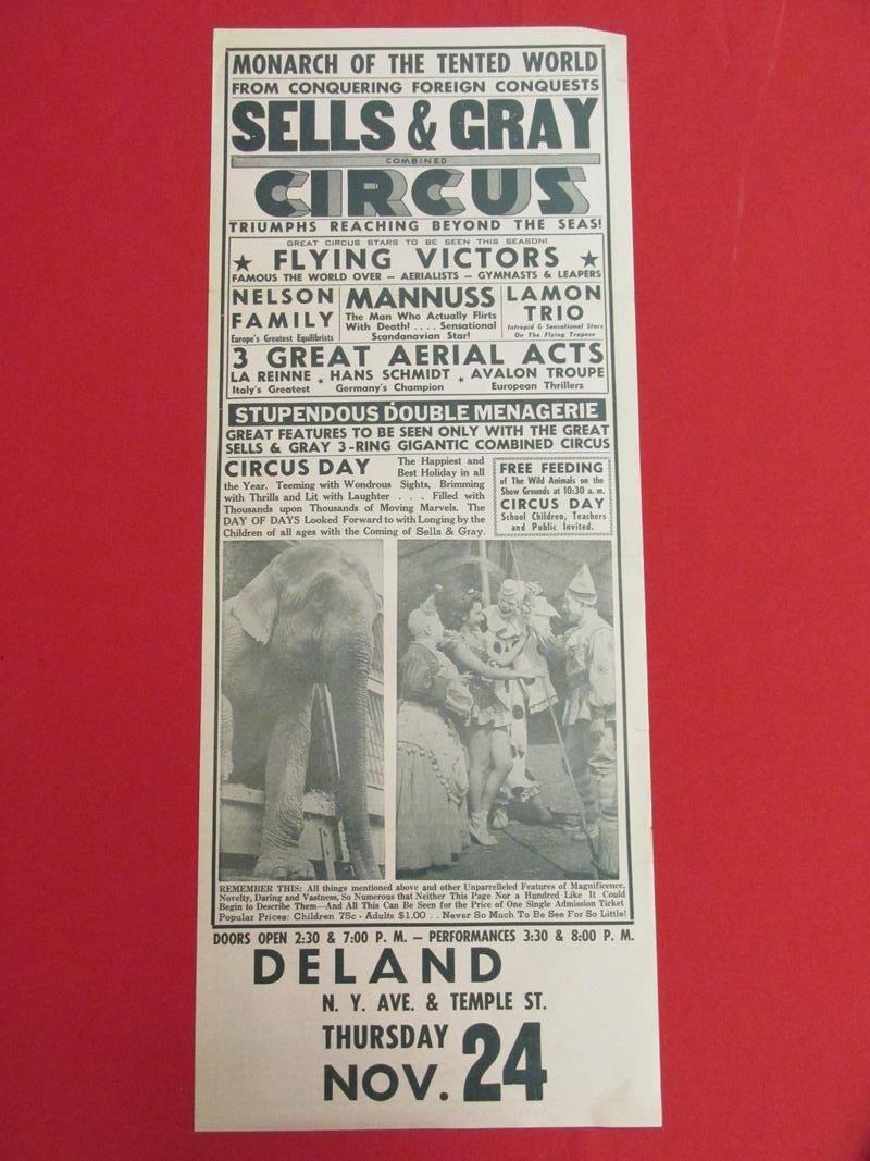 TIBBALS COLLECTION - 1966 SELLS & GRAY CIRCUS HERALD