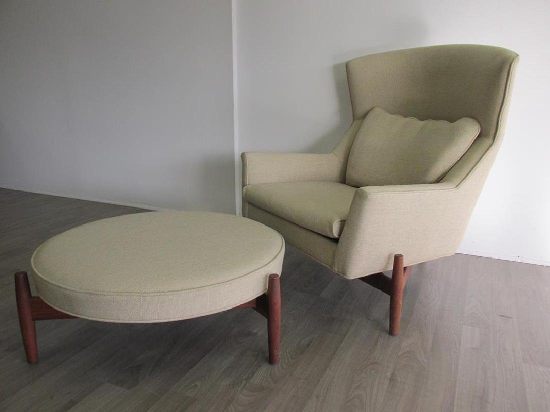 "JENS RISOM ""BIG CHAIR"" LOUNGE AND OTTOMAN"