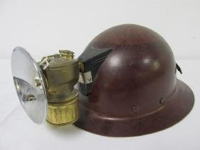 RAILWAY WORKER'S HARD-HAT WITH CARBIDE LAMP
