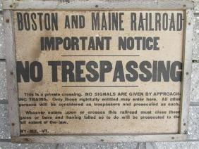 BOSTON & MAINE RR CANVAS NO TREPASSING SIGN